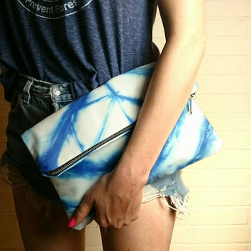 Shibori Clutch Pouch purse Hand dyed chevron womens handmade spring art accessories gift boho summer festival
