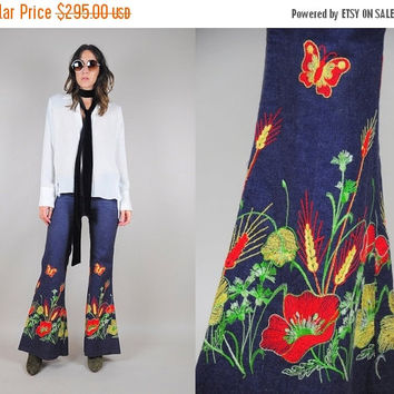 ON SALE rare 70's EMBROIDERED wildflower bell bottom jeans