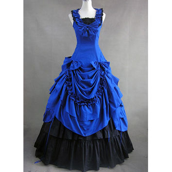 Cheap Blue and Black Classic Gothic Victorian Sleeveless Bowknot Ruffles Masquerade Lolita Dress - $96.99