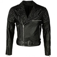 VIPARO | Black Studded Shoulder Leather Biker Jacket - Lennox