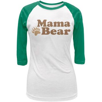 LMFCY8 Mothers Day - Mama Bear White/Kelly Green Juniors 3/4 Raglan T-Shirt