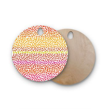 "Sreetama Ray ""Sunset Arrows"" Red Abstract Round Wooden Cutting Board"