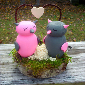 Rustic owl cake topper pink and gray cake topper love bird cake topper rustic wedding moss and sola flower wood cake topper