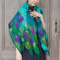 Cobweb felted scarf, blue green light shawl with purple flowers, unique fashion. OOAK