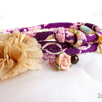Kimono Bracelet, Choker necklace, Japanese chirimen wrapping jewelry, Romantic cherry blossom dancing on purple - HANA MORI -