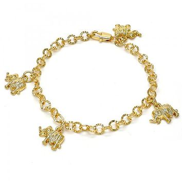 Gold Layered 03.63.1790.07 Charm Bracelet, Elephant Design, Diamond Cutting Finish, Gold Tone