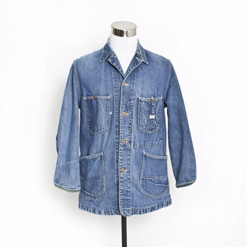 Vintage Lee 91-J Chore Coat -Jelt Denim Barn Jacket Sanforized Workwear Made in USA - 38