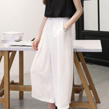 Stand Collar Sleeveless Top with Pocket Design Pants Twinset