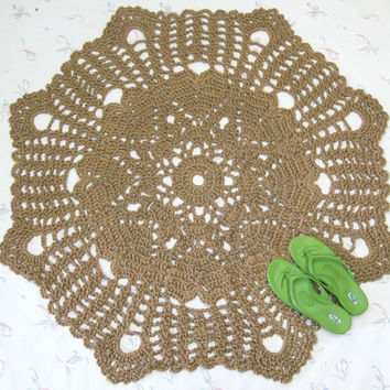 Lacy Doily Jute Rug - Heart Motif - Hippie Decor - Round Rug - Area Rug - Valentines Day Decor - Rustic Wedding - Heart Shapes - Doily