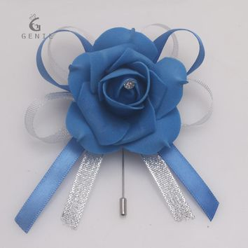 Genie New 2PCS Royal  Blue Wedding Corsage Pin Satin Ribbon Artificial Flower Groom Boutonniere Man Suit Brooch Corsage Cheap