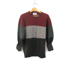 vintage gray and maroon sweater. wool sweater. size L