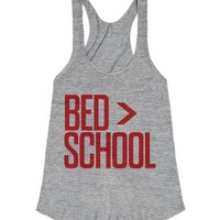 My Bed Is Better Than School-Female Athletic Grey Tank