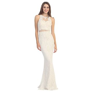 Mock Two Piece Sheath Lace Gown Ivory Blush High Neck Rhinestones