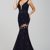 Jovani 36074 In Stock NAVY SZ 6 Lace Illusion Prom Pageant Dress Evening Gown