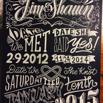 Custom Chalkboard Wedding Sign OR Engagement, Bridal Shower, Baby Shower Party, etc!