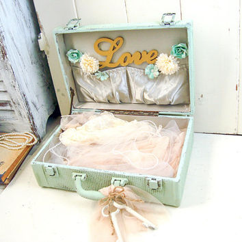 Vintage Decorative Suitcase, Small Vintage Trunk, Shabby Chic Luggage, Painted Luggage, Wedding Card Holder, Mint Suitcase, Nursery Decor