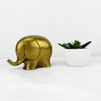 Vintage Brass Elephant Figurine Mid Century Animal Statue Modernist Housewarming Gift Baby Shower Nursery Room Decor