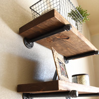 "2 shelf combo - 10"" Deep Industrial Floating Shelves, Rustic Shelf, Wood and Pipe Shelf, Kitchen and Bathroom Wall Shelves"