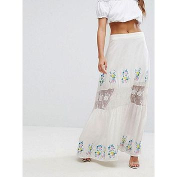 Inari Embroidered Lace Maxi Skirt