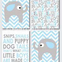 baby boy nursery wall art- kids wall decor- blue and gray elephant set