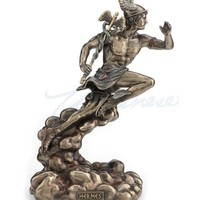 Mercury Hermes Running on Clouds with Caduceus Statue 8.75H
