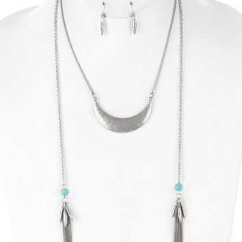 Turquoise Aged Finish Metal Double Chain Tassel Necklace And Earring Set