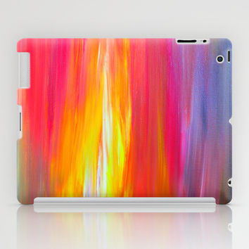 BRIGHT HORIZONS Bold Colorful Rainbow Pink Yellow Blue Abstract Painting Sunrise Sunset Stripes  iPad Case by EbiEmporium