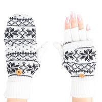 LE3NO Womens Knitted Printed Design Fingerless Texting Gloves with Mitten Cover (CLEARANCE)