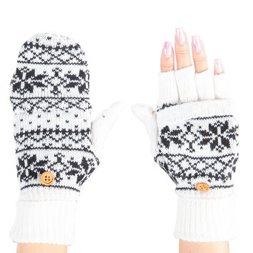LE3NO Womens Knitted Printed Design Fingerless Texting Gloves with Mitten Cover