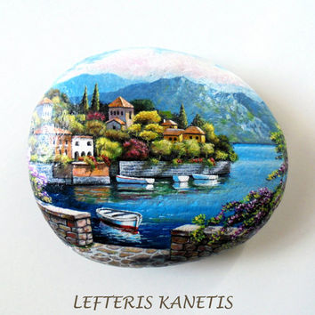 Rock Painting Landscape in Seaside Village ! Painted with  Acrylic paints and finished with Glossy varnish protection.