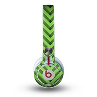 The Lime Green Black Sketch Chevron Skin for the Beats by Dre Mixr Headphones