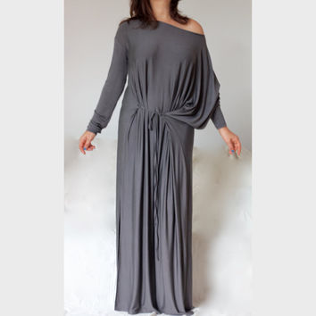 Long Maxi Asymmetric Dress / Greek Style XXL XXXL Dress/ Plus Size Multi Way Caftan Dress / Dark Grey Maxi Jersey Dress /  Caftan Dress