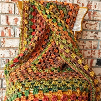 Large Afghan crochet granny square blanket apx 71 by 63 inches Earth tones Fall colors