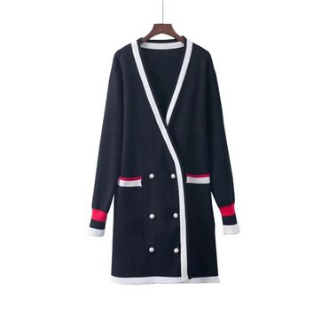 Women Autumn-Winter Black Sweaters Female Knitted Beading Cardigan Japanese Style Harajuku Stripe Kimono Girls Fall White Coats