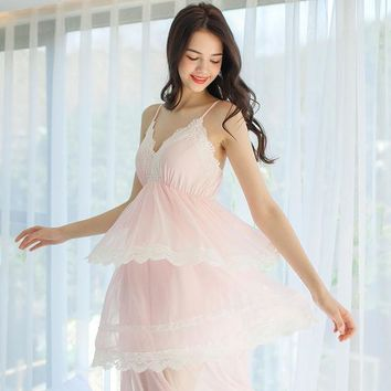CREYON5U Free Shipping Women's Nightgown Summer Nightwear Sexy Deep V-neck Nightdress Elegant Lady Sleepwear Vintage Bedgown Soft fabrics