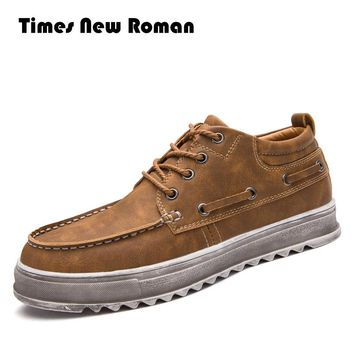 Times New Roman Genuine Leather Men boots Classic Ankle work Boots Cow leather Men Winter Snow Boots Winter shoes