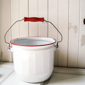 Vintage Enamel Pot, White and Red Metal Cooking Pot with Handle, Rustic Farmhouse Pot, French Farmhouse, Country Cottage Chic Kitchen Decor