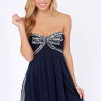 The Whole Package Strapless Navy Blue Sequin Dress