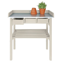 "32"" Garden Work Bench, White, Outdoor Side Tables"
