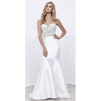 Sweetheart Neck Beaded Bodice Off White Mermaid Prom Dress Long