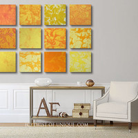 Oversized Watercolor dawn Abstract Painting / ORIGINAL 12 square ( 15 Inch x 15 Inch)  / Oversized abstract wall art / Orange, White, yellow