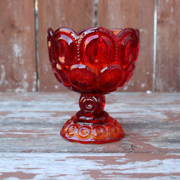 Vintage L.E. Smith Amberina Glass Candy Dish or Bowl | Pedestal Dish |  Moon & Stars Pattern | Retro Kitchen