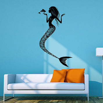 kik109 Wall Decal Sticker sea marine fish mermaid siren child living room bedroom children's room