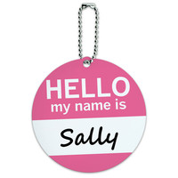 Sally Hello My Name Is Round ID Card Luggage Tag