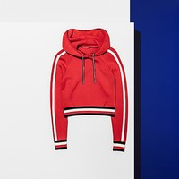 CROPPED DRAWSTRING NECK HOODIE   Tommy Hilfiger