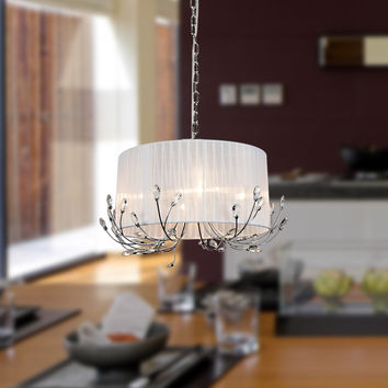 Drum Fabric Shade Crystal Chandelier Max 240W with 4 Lights Chrome Finish