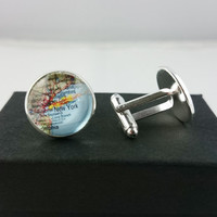 Custom New York Map Cufflinks, Mens Cufflinks, Custom Cufflinks, Special Gift for Fathers, Groom, Husbands