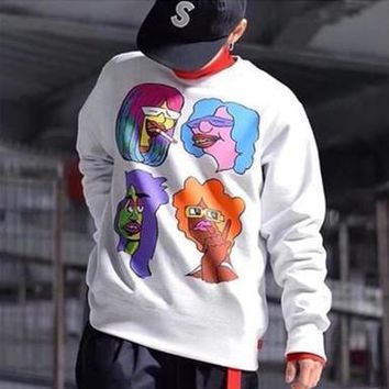 supreme gonz heads crewneck unisex personality cartoon character print long sleeve pullover sweater couple casual tops