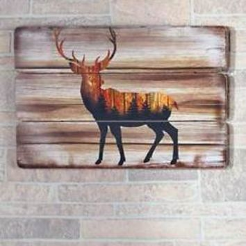 Woodland Deer Silhouette Wall Plaque Art Distressed Wood-Look Lodge Home Decor