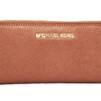 MICHAEL KORS Jet Set Tan Saffiano Leather Zip Continental Slim Accordion Wallet